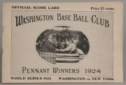 644: 1924 World Series Senators Scorecard, Signed