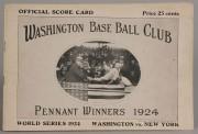 644: 1924 World Series Senators Scorecard, Signed
