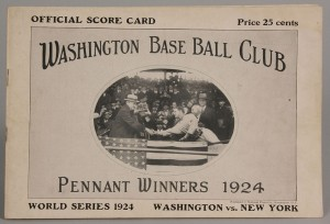 Lot 644: 1924 World Series Senators Scorecard, Signed