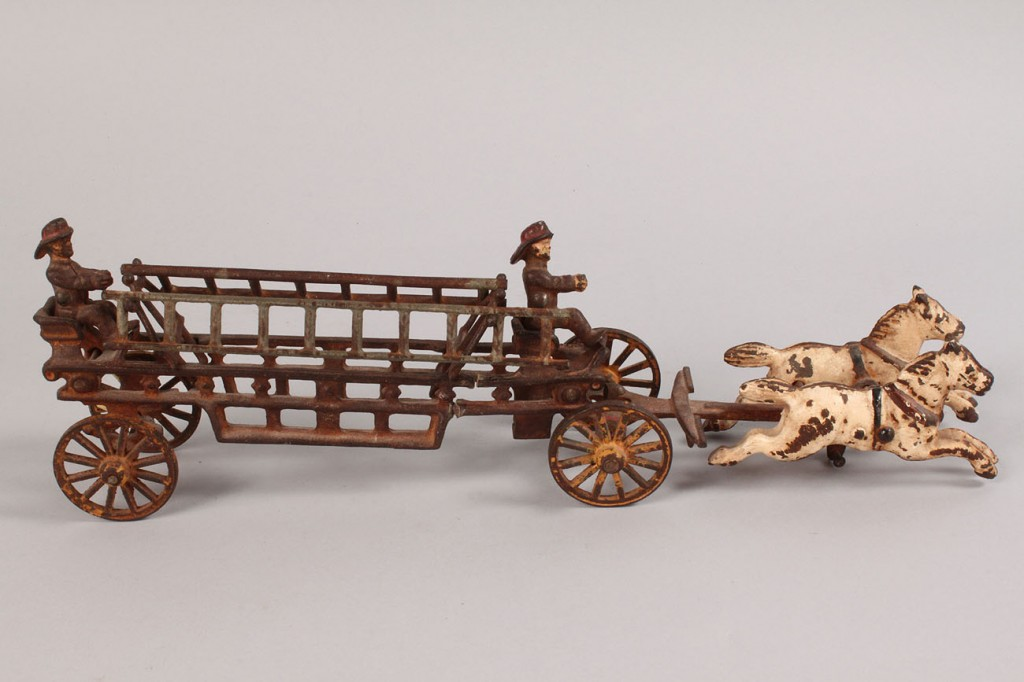 Lot 647: Cast Iron Fire Engine and Vintage Holiday Items