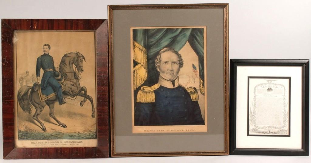 Lot 665: Lot of 2 Civil War Kellogg Prints and Framed Andre