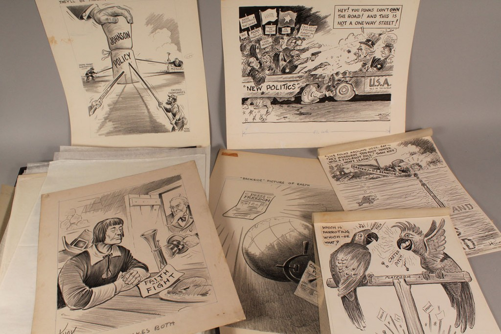Lot 669: Lot of 9 Jack Knox Political Drawings