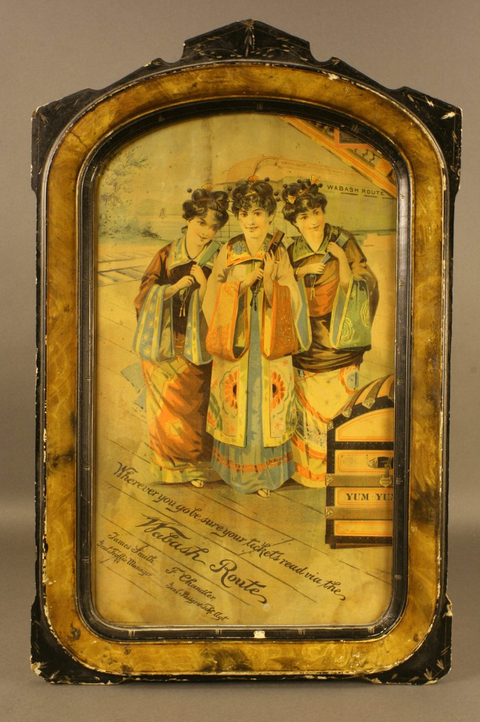 Lot 677: Wabash Route Lithograph Framed Advertising Sign