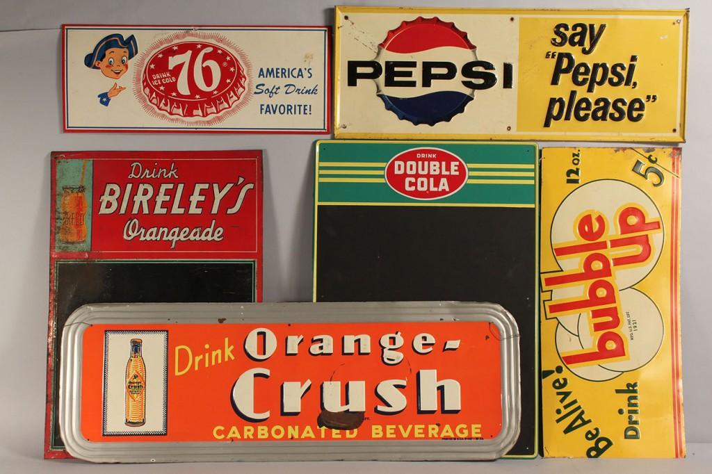 Lot 678: Lot of 6 Vintage Tin Soda Advertising Signs