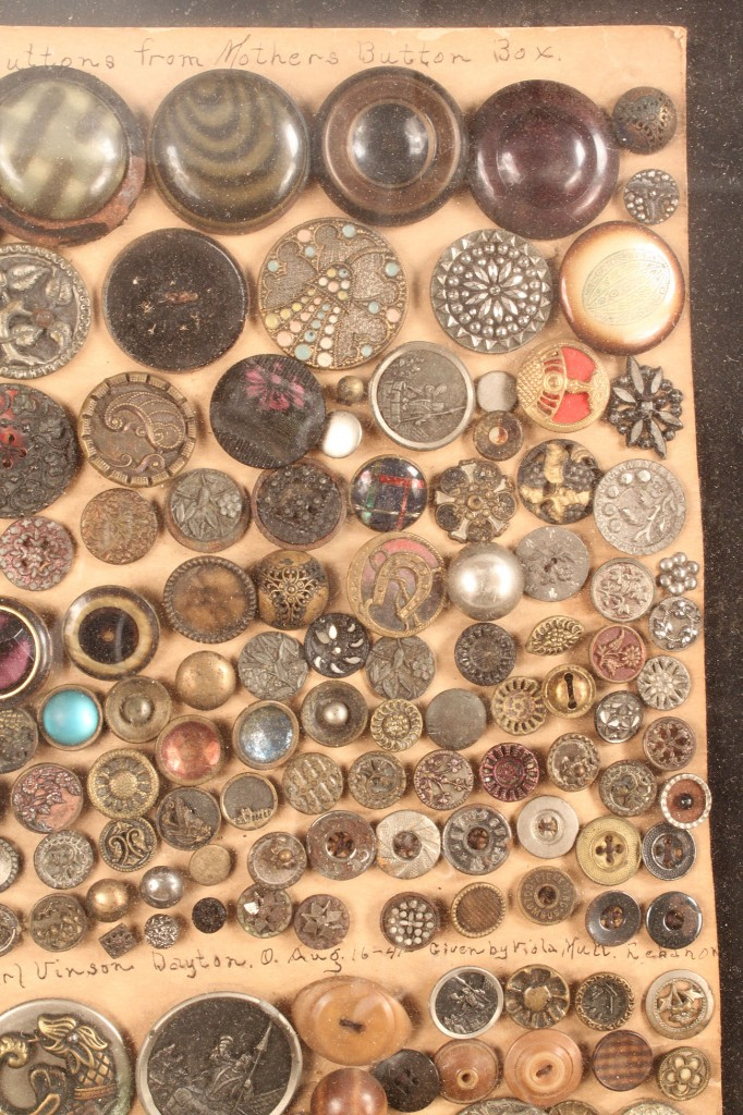 Lot 681: Framed Vintage Button Collection, 100+ pcs.
