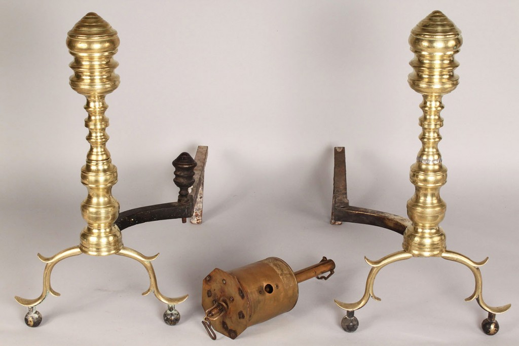 Lot 690: Federal andirons and brass roasting jack