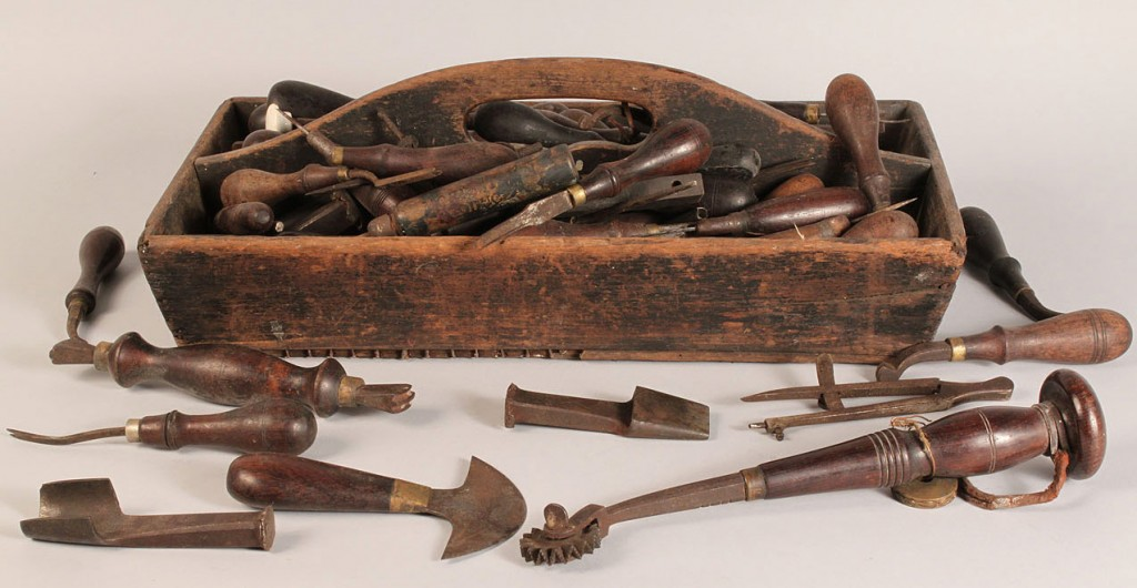 Lot 691: 19th c. Wooden Tool Caddy, with early tools