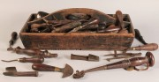 691: 19th c. Wooden Tool Caddy, with early tools