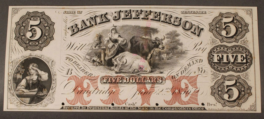 Lot 6: $5 Obsolete Currency Note, Bank of Jefferson, Dandri
