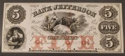6: $5 Obsolete Currency Note, Bank of Jefferson, Dandri