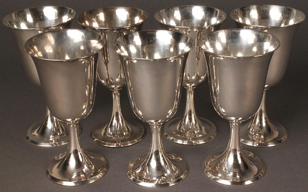 Lot 78: Seven Sterling Silver Goblets, 950 standard