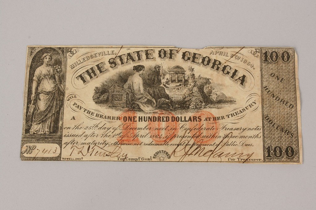 Lot 7: 13 Obsolete Currency Notes, Georgia