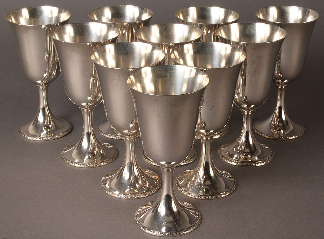 Lot 80 Ten Sterling Silver Goblets Frank M Whiting