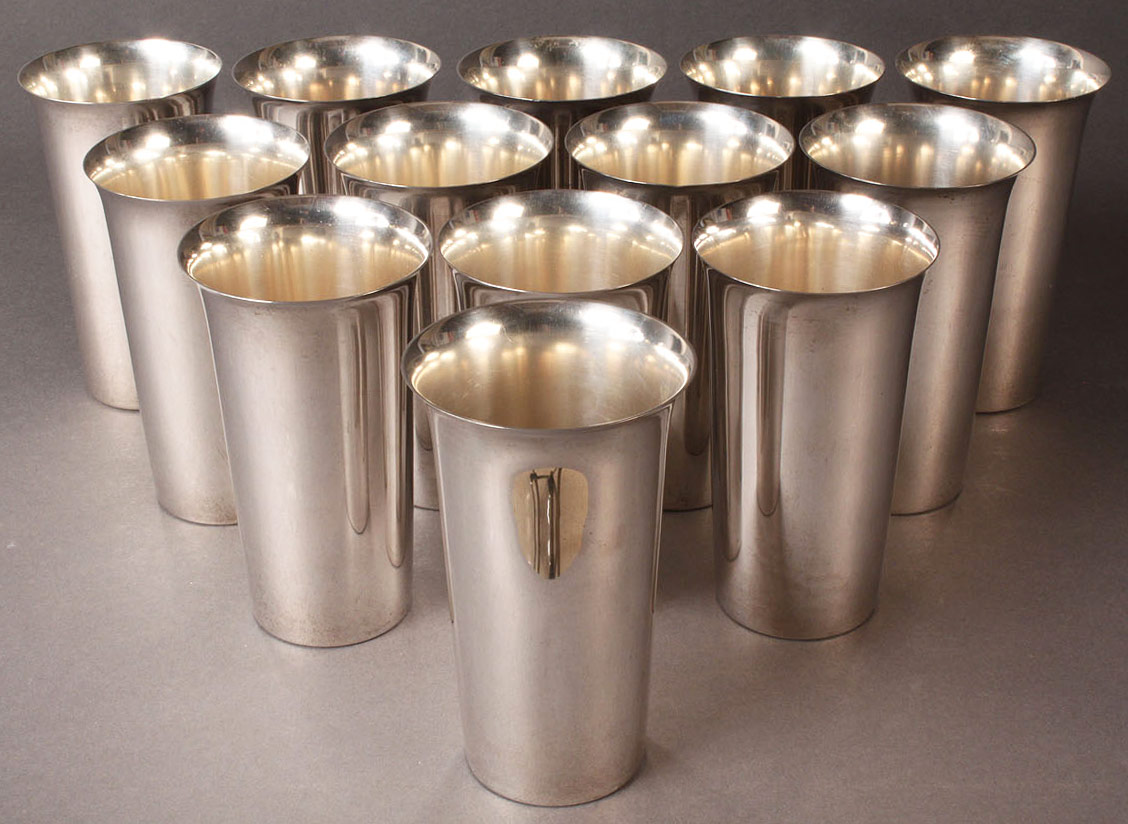 Lot 81: Thirteen Sterling Silver Tumblers