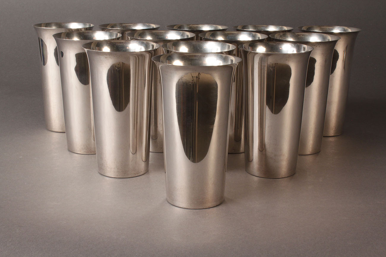 Lot 81 Thirteen Sterling Silver Tumblers