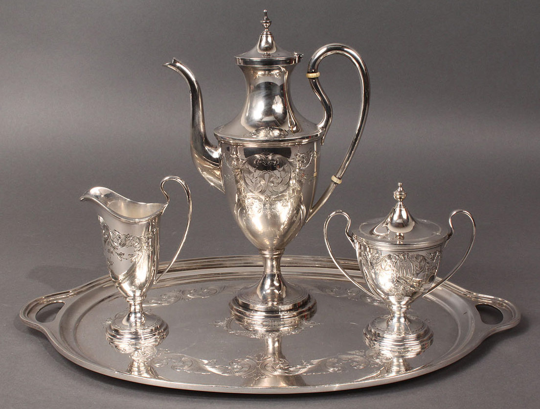 Lot 86: Kirk & Son Silver Tea or Coffee Service, 4 pcs
