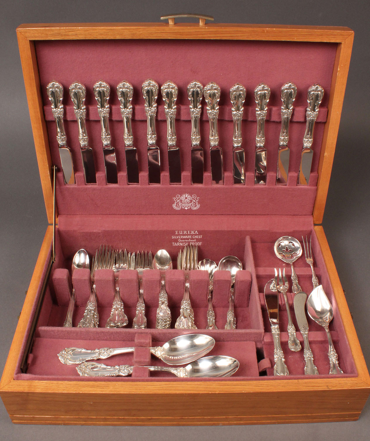 90: Reed & Barton Burgundy sterling flatware, 64 pcs wi