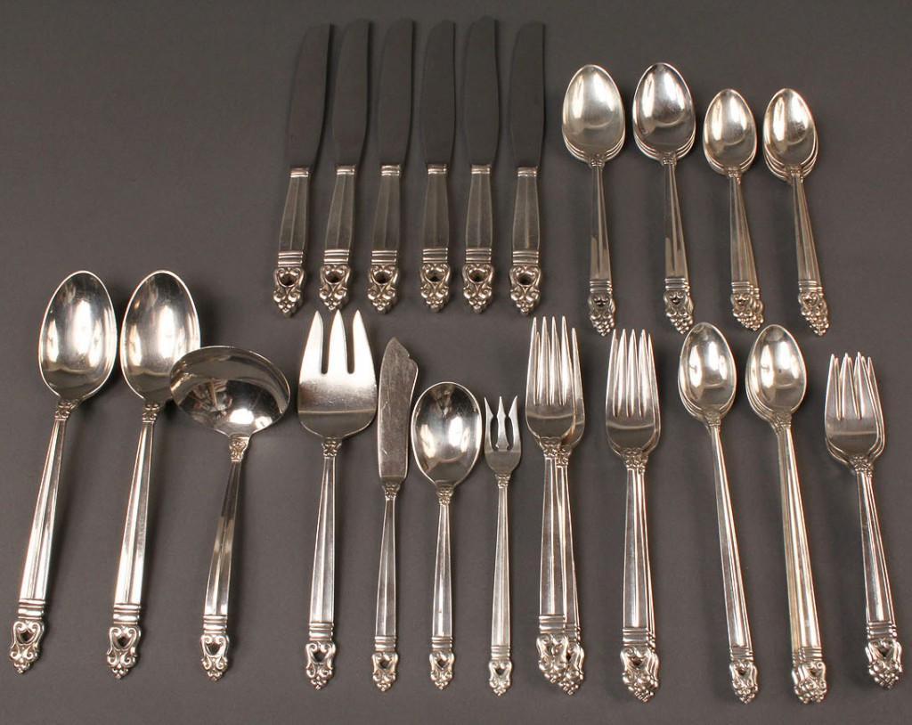 Lot 93: Sterling Silver Flatware, Royal Danish, 45 pieces