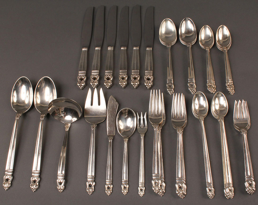 93: Sterling Silver Flatware, Royal Danish, 45 pieces