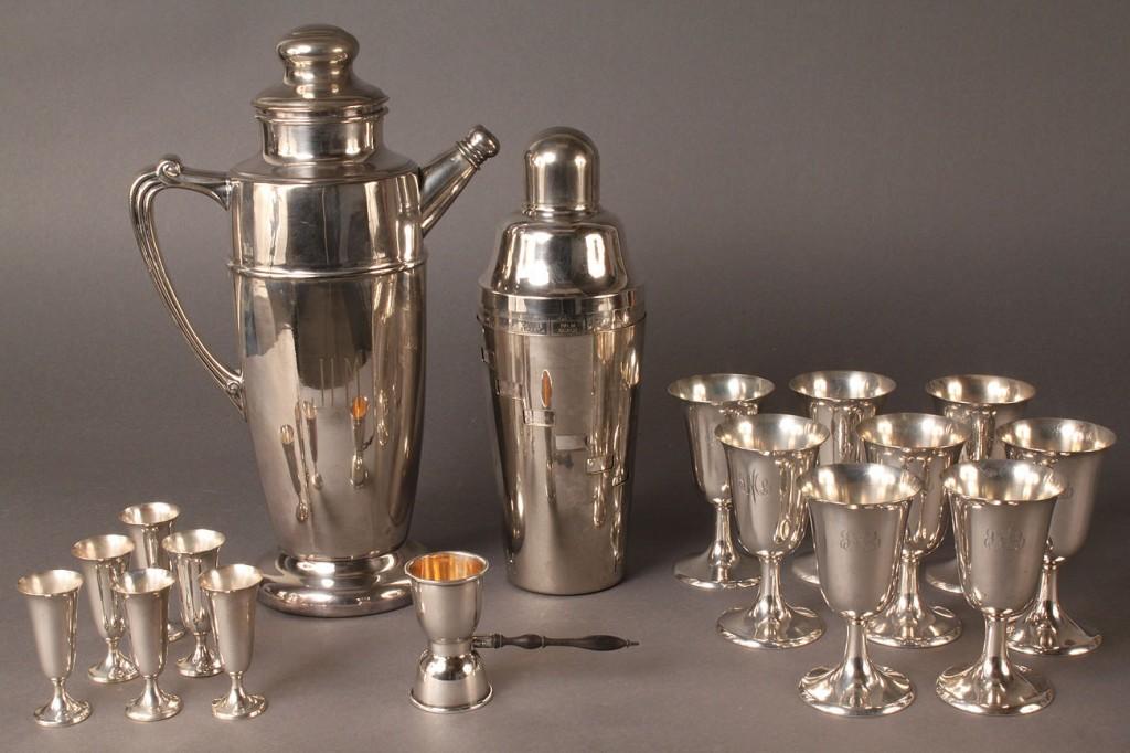 Lot 94: Lot of Sterling silver goblets plus Napier cocktail