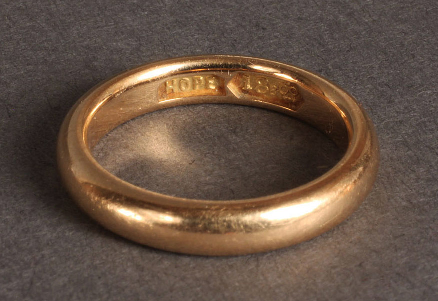 Lot 97: Tennessee 18K Gold Wedding Band, J.W. Hope