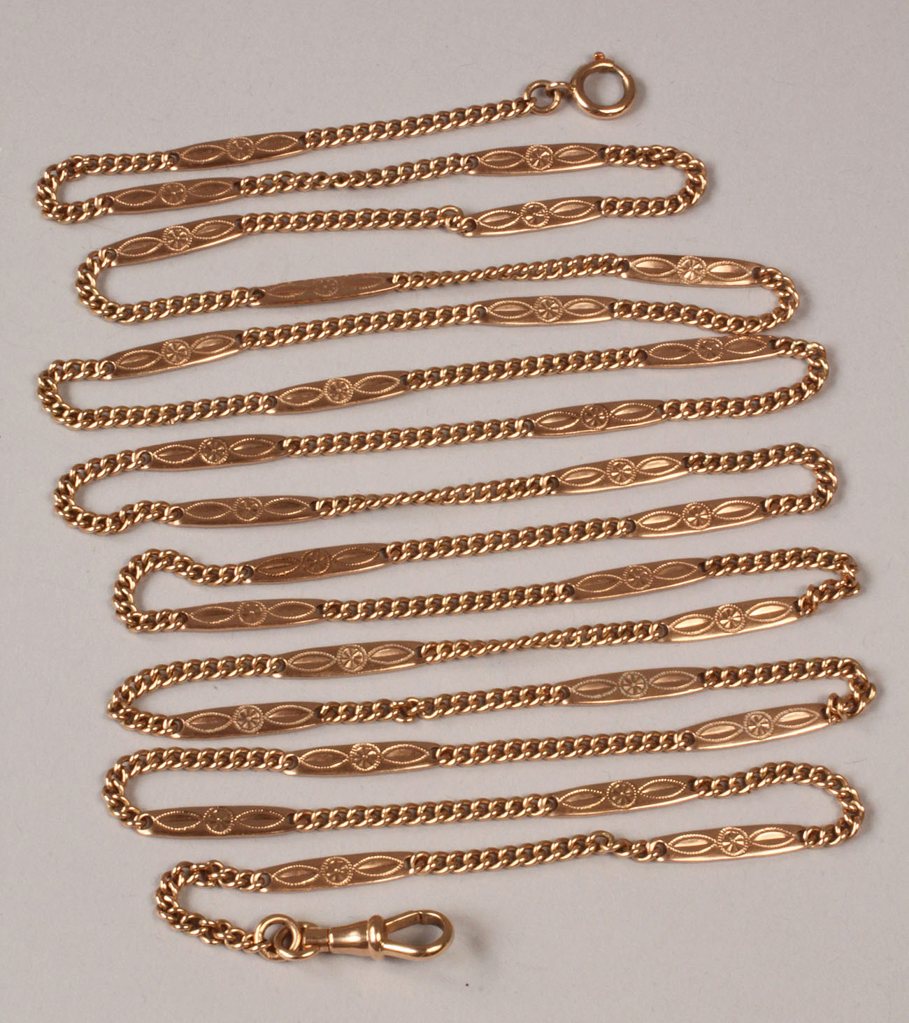 98: 14K Gold Watch Chain, engraved links