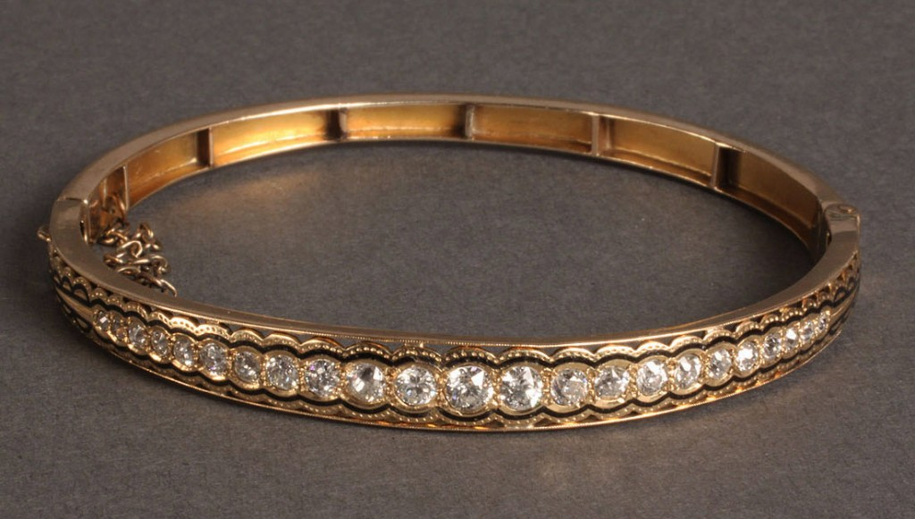 Lot 99: Ladies Art Deco Gold and Diamond Bracelet