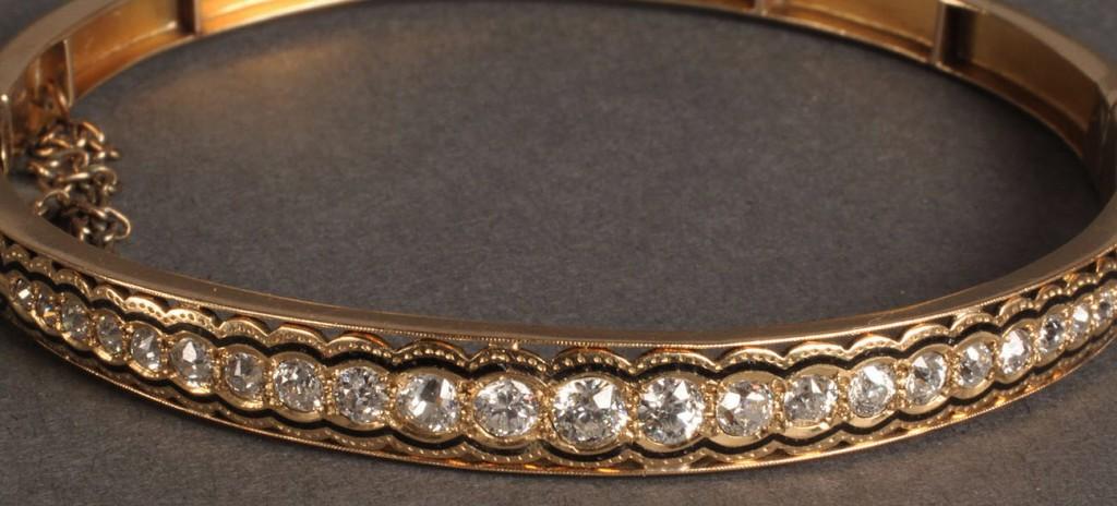 Lot 99: Ladies Art Deco Gold and Diamond Bracelet