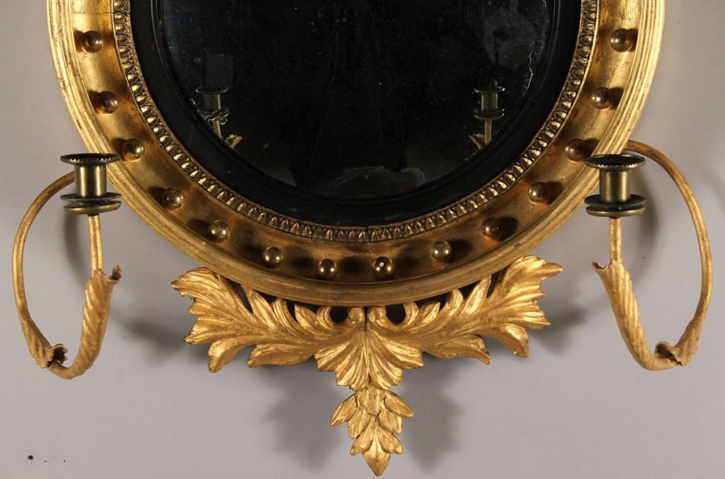 Lot 100: Federal Convex Girandole Mirror