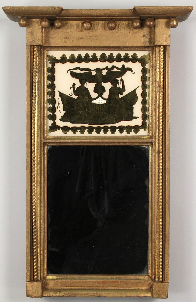 Lot 102: Federal Giltwood and Eglomise Mirror