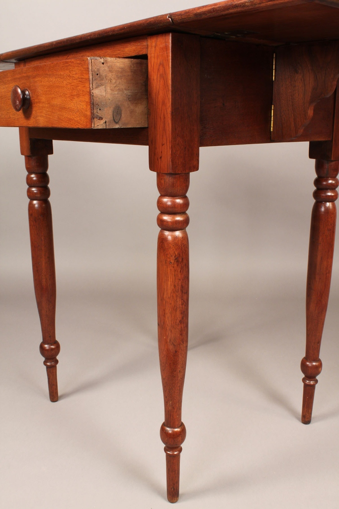 Lot 105: East TN Drop-leaf Sheraton Work Table