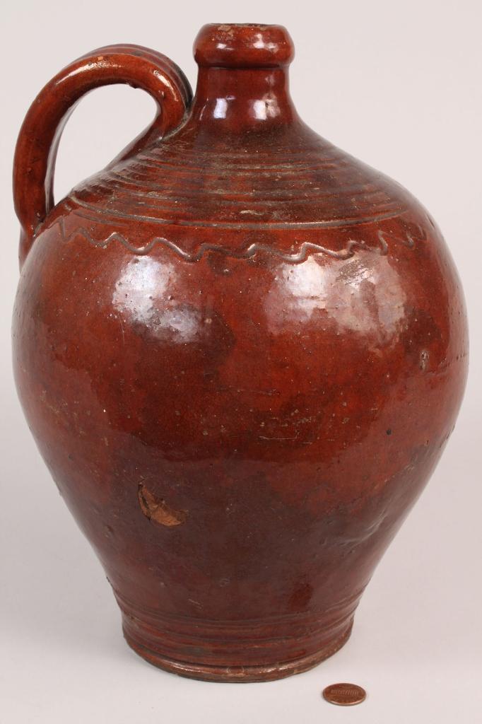 Lot 115: Redware Pottery Jug, Piedmont NC