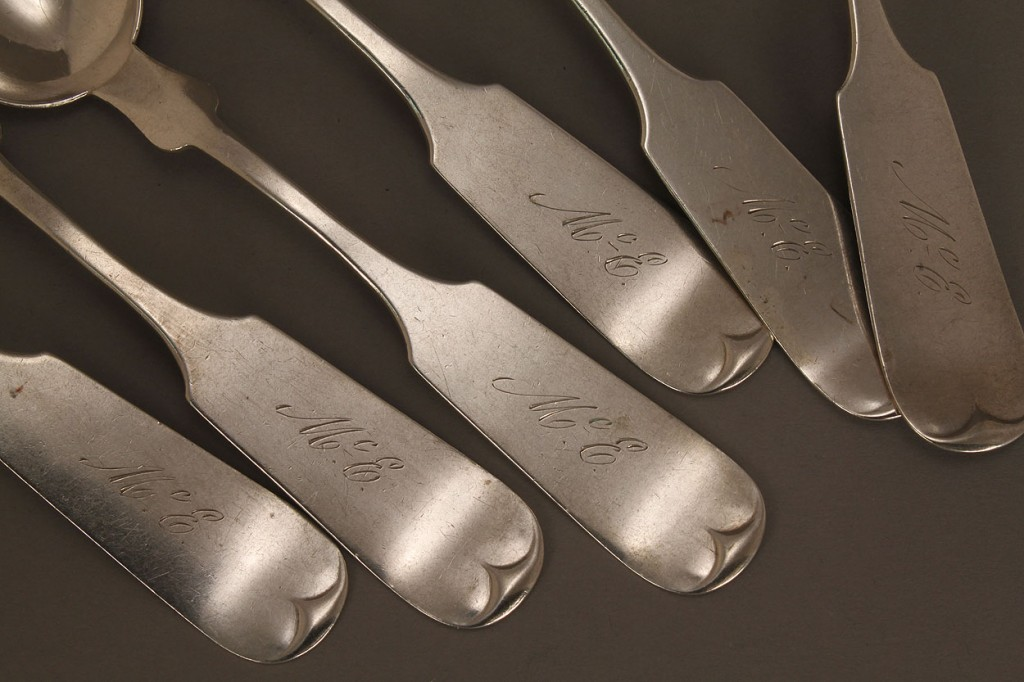 Lot 119: Set of 6 TN Coin Silver Spoons by E. B. Cayce