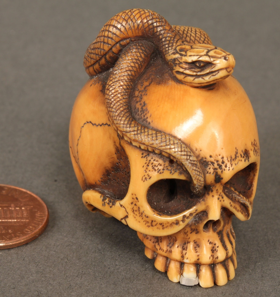 Lot japanese ivory netsuke skull snake