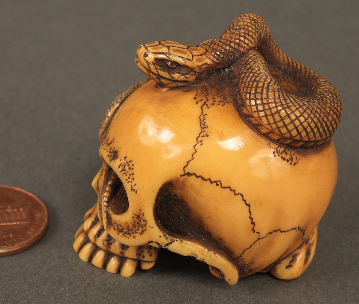 Lot 11 Japanese Ivory Netsuke Skull Amp Snake