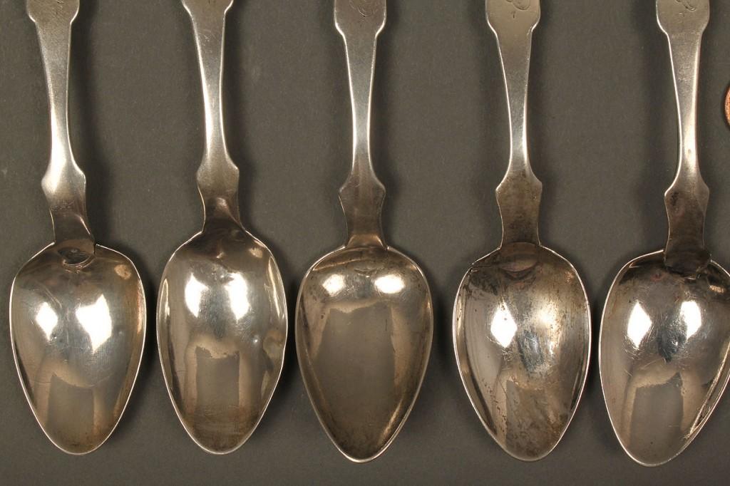 Lot 122: 6 Nashville Coin Silver Spoons, D. W. Hughes