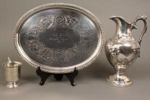 Lot 124: Coin silver mug and s/p hollowware, Sevier family