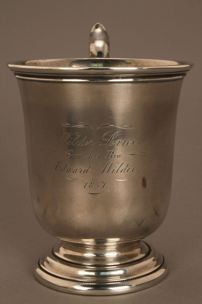Lot 124: Coin silver mug and s/p hollowware, Sevier family