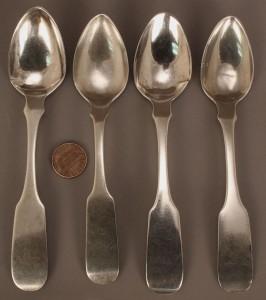 Lot 127: Four D. I. Wells Coin Silver Spoons, Bolivar, TN