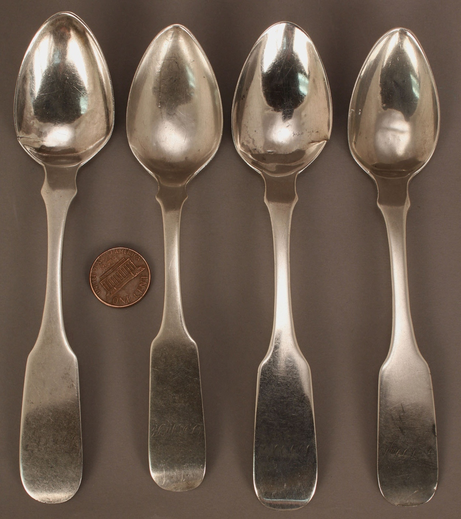 Lot 127: Four D. I. Wells Coin Silver Spoons, Bolivar, TN