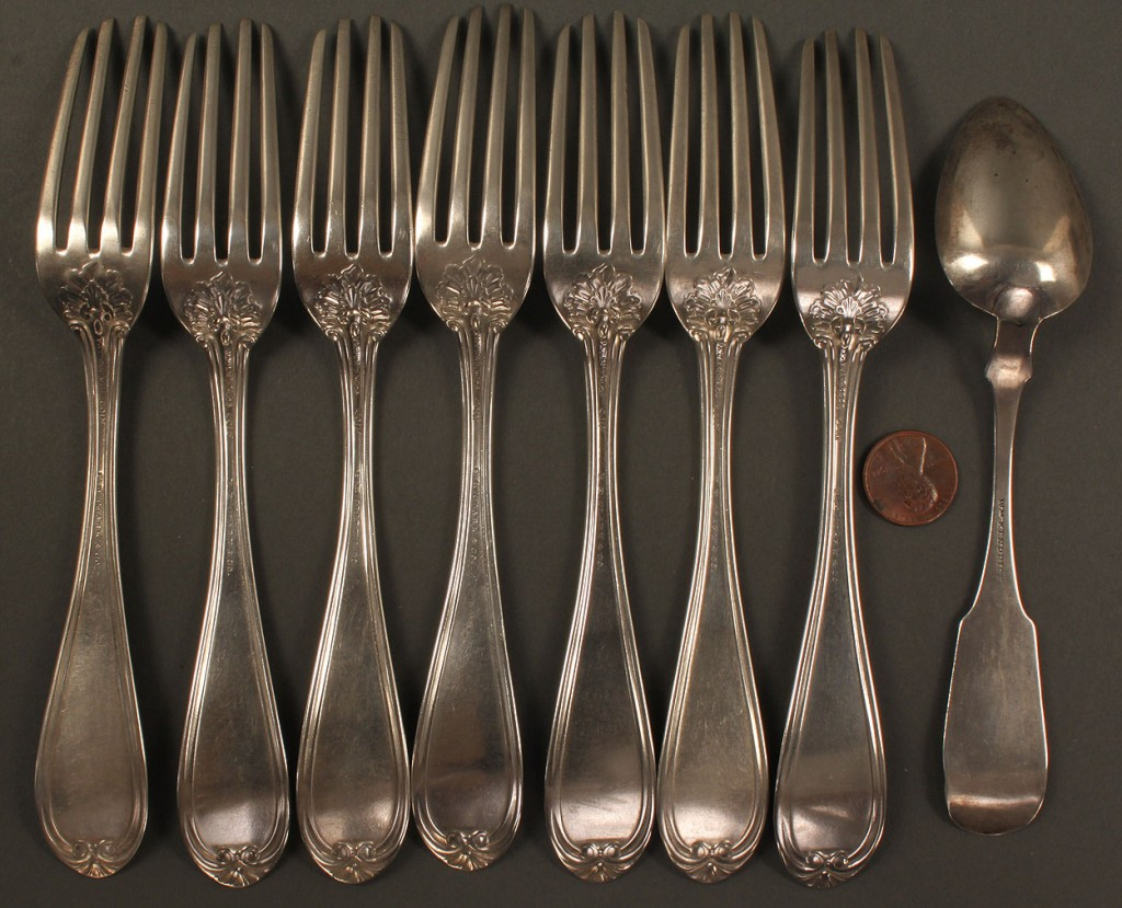 Lot 128: 8 pieces TN & KY Coin Silver flatware