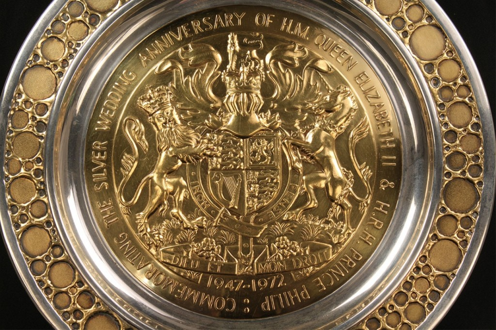 Lot 135: Sterling Royal Anniversary commemorative plate