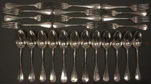 Lot 136: French first standard silver flatware, Bonnesuer
