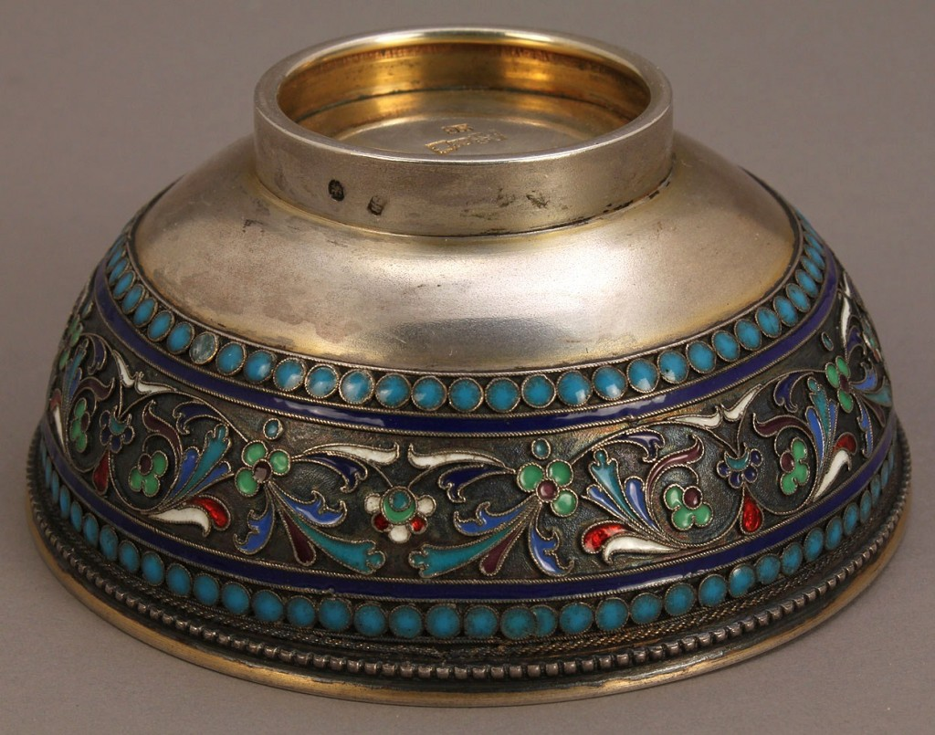 Lot 137: Russian Silver and Cloisonne Enamel Bowl