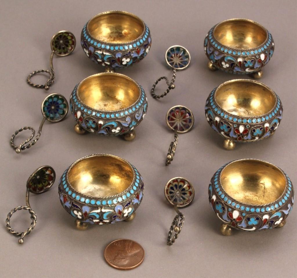 Lot 138: 6 Russian Enameled Silver Salts & Plique a Jour