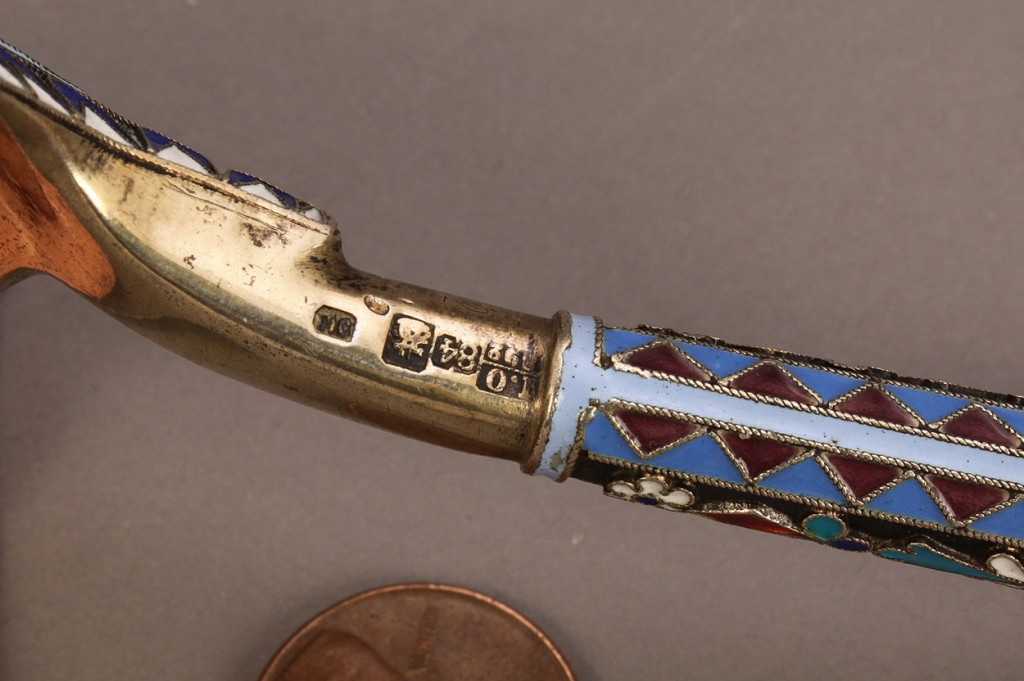 Lot 139: Russian Enameled Silver Gilt Spoon