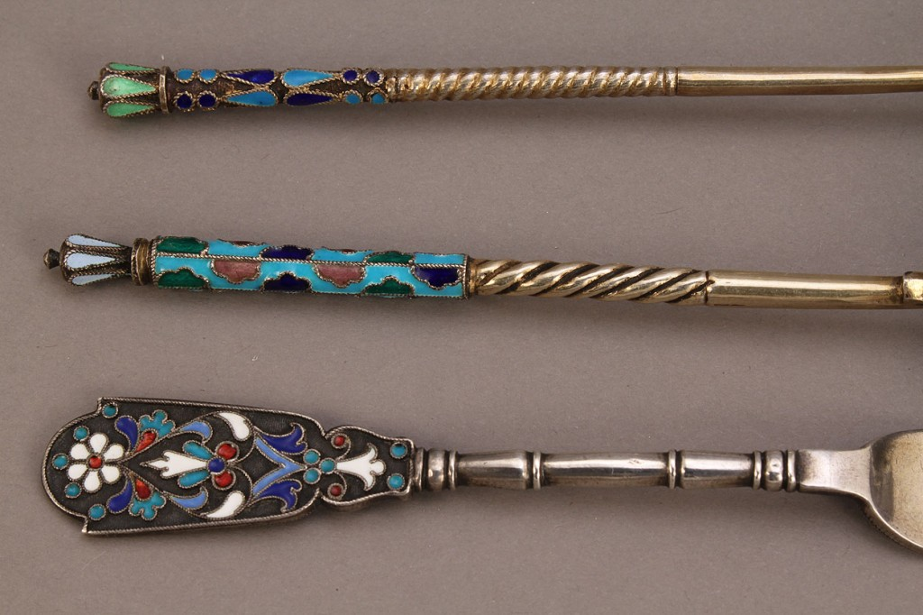 Lot 141: Russian Enameled Silver Fork and 2 spoons