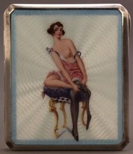 Lot 143: Enameled sterling cigarette case, nude