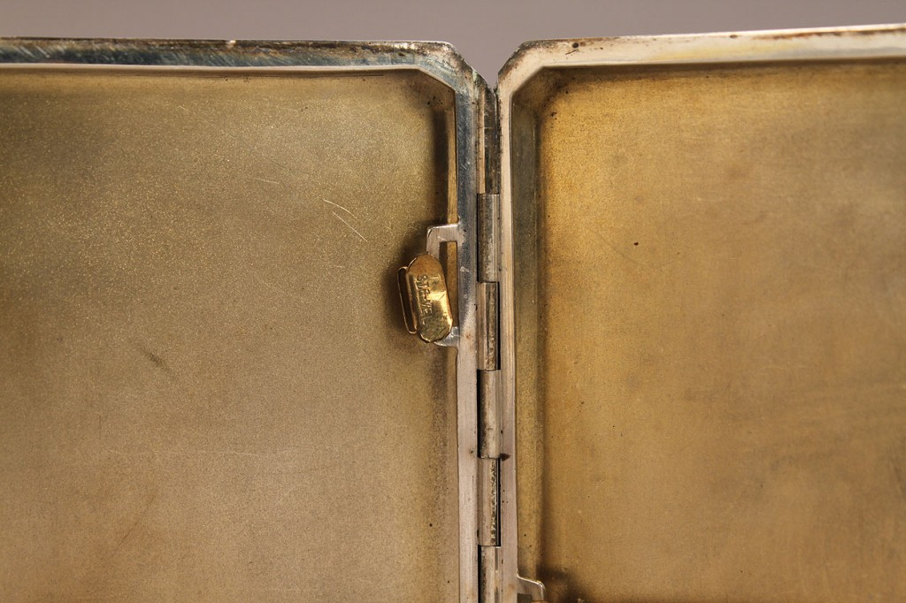 Lot 143: Enameled sterling cigarette case, nude