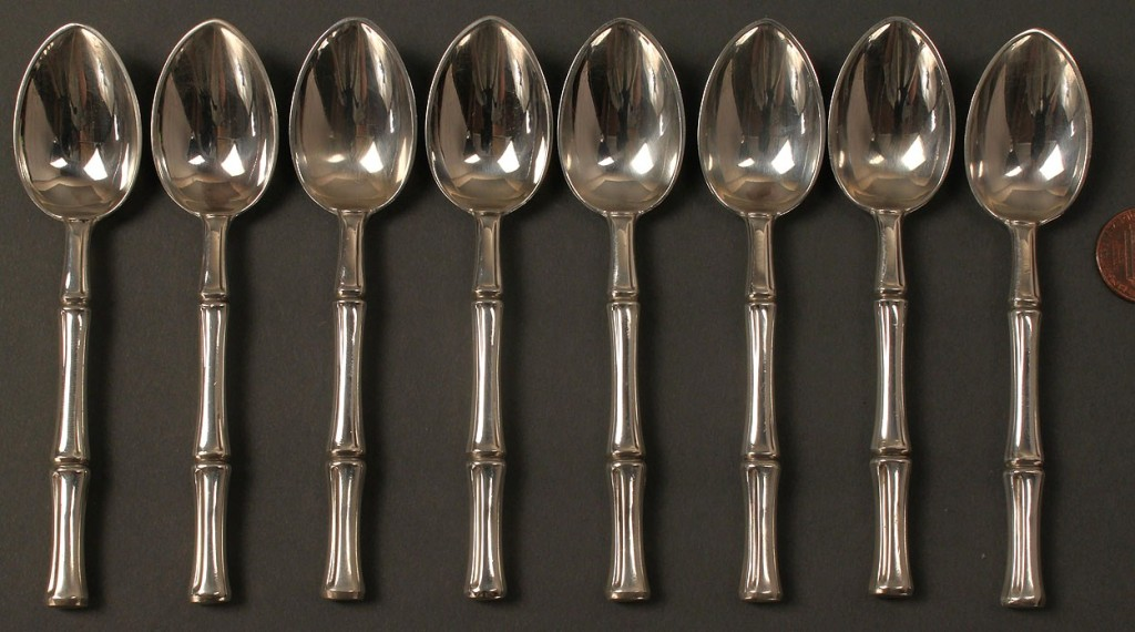 Lot 144: 8 Tiffany Sterling Demitasse Spoons, Bamboo Patter